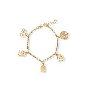 """6.5 """"+ 1"""" 14 Karat Gold Plated Om Charm Bracelet"""
